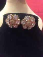 Swarovski Signature Honeycomb With Pave crystal Gold  stud earrings Gold Swan