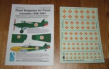 1/72 scale DECALS - ROYAL BULGARIAN AIR FORCE ROUNDELS 1938-1941 - BLUE RIDER