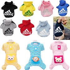Cute Pet Dog Stripes Pajama Coat Winter Warm Adidog Hoodie Sweater Puppy Clothes