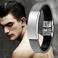 Neu Mensh Armband Edelstahl Kautschuk Leder Optik Herrenarmband Armreif HOT Z8K0