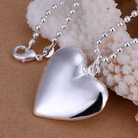 ASAMO Damen Halskette Herz Anhänger Sterling Silber plattiert Herzkette H1034