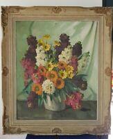 Louis ADAMI (XX) Pot de fleur huile sur toile signée.painting on canvas signed
