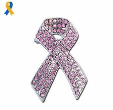 Large Pink Breast Cancer Ribbon Brooch + Pouch