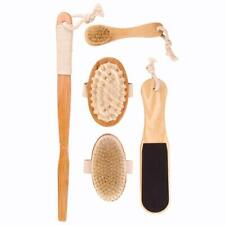 New! 5 Pcs Dry Skin Bath Body Brush Natural Boar Bristle Spa Sauna Exfoliator