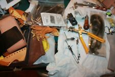 Vtg Lot of 40+ pc. Tandy & other LEATHER WORKING TOOLS &  Leather pcs & tags