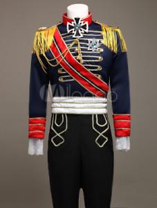 Royal victorian Men's Blue European Vintage Prince Charming Costume Outfit Sets