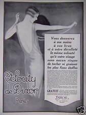 PUBLICITÉ 1929 VELOUTY DE DIXOR PARIS VOS MAIMS BRAS DÉCOLLETÉ LE MÊME VELOUTÉ