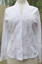 NWT Christopher & Banks Size S White V-Neck Snap Front Dress Blouse Shirt Top