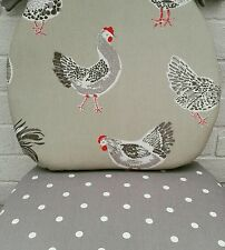 Dining Chair Cushion in Clarke and Clarke Rooster Fabric and Grey Dotty Seat Pad