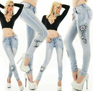 Women's Skinny Jeans stretch Denim Pants Embroidered leg Light Blue Wash UK 4-12