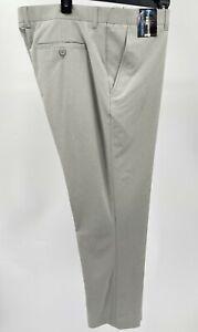 Men's Pants Size 42x32 Light Gray Heather Roundtree Yorke Performance Stretch