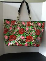 Betsey Johnson floral satchel tote in great condition, water resistant.