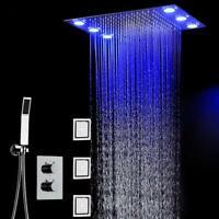 "20"" LED Rainfall Shower Heads Sets Bathroom Thermostatic Valve Faucet Bath PRO"