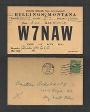 1949 W7NAW QSL CARD USED BILLINGS MONTANA USA