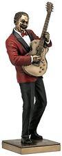 "GUITAR PLAYER Bronze Statuette JAZZ BAND Collection, 12.75"" Tall, Unicorn Studio"