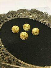 Four Vintage Gold Tone W Metal Buttons - Waterbury Button Co. - B1