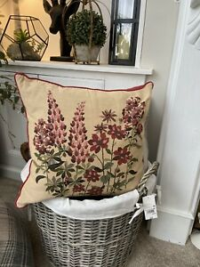 LAURA ASHLEY Natural Beige Red Lupins Floral Tapestry Feather Cushion