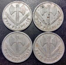 France - État Français - Pétain - lot de x4 2 francs Francisque 1943 & 1944