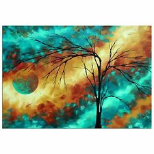 Turquoise & Gold Tree Art 'Reaching for the Moon' Contemporary Wall Decor