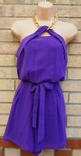 LIPSY PURPLE CHAINED HALTERNECK BELTED CULOTTE PARTY SUMMER PLAYSUIT ROMPER M L
