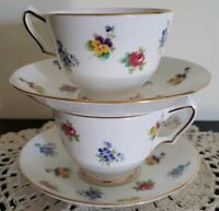 Set of Two ~ Crown Fine Bone China~ England ~ Cups & Saucers ~ Replacements