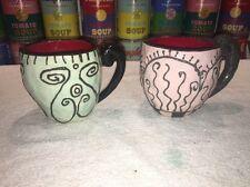 2 vintage 1989 KRI KRI DESIGNS POTTERY CUPS / MUGS
