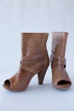 DIESEL real Leather Peep toe Heels Boots Perforated Leather Tan Brown 39 6,5