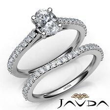 1.75ctw Sidestone Engarzado Novia Ovalado Anillo de Compromiso Diamante GIA