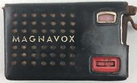 Magnavox Model AM-22  6 Transistor Pocket Radio Red With Leather Case Tested