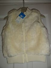 NEW Adams Girls cream faux fur gilet bodywarmer with zip 6 years Soft fur