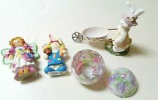 4 Easter Decorations - 2 Bunnies, Egg Wheel Barrow, Candle Holder, Heart Angel