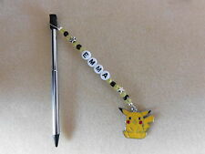 Personalised 3DS / 2DS Stylus Pen with charm Pikachu Pokemon Black pen