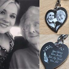PHOTO ENGRAVED PERSONALISED MEMORIAL FUNERAL GIFT NEW SPECIAL HEART KEYRING