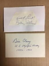 Bill Cleary 1956-1960 Usa Olympic Hockey Signed/Mounted Index Card Coa*