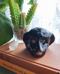 Weird Cute Dog Face Folk Art Pottery Black Labrador Retriever Ugly Paperweight