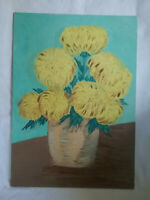Oil Painting of Flowers in a Pot, Unsigned, on Canvas Board, Unframed