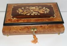 Burl Inlaid Music Box with Key Made in Italy Plays Masquerade