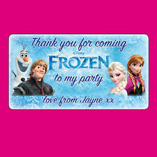 24x Personalised Frozen Stickers Labels Thank you Birthday Gift Wrap Seals -N351