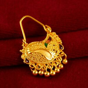 Indian Bridal Wedding 18K Nose Rings Traditional Goldplated Nath Ethnic Jewelry