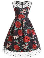 Ladies Plus Size Valentine Polka Dot Rose Dress XL-5XL Vintage Dress+Free Gift