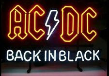 """New Ac Dc Acdc Back In Black Neon Light Sign 20""""x16"""" Beer Gift Bar Real Glass"""