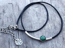 Green Malachite Sterling Silver Black Leather Cord Handmade Necklace