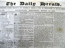 Lot of 5 1839-1840 Newburyport MASSACHUSETTS newspapers - 22 years Pre CIVIL WAR