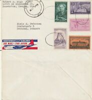 US 1957 COMMERCIAL FLOWN COVER PORTLAND OREGON TO HERNING DENMARK