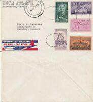 US 1957 COMMERCIAL FLOWN COVER PORTLAND OREGON TO HERNING DENMARK