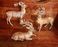 Vtg Lot Of 3 Metal Lead Putz Reindeer Christmas Ornament Germany Deer Family