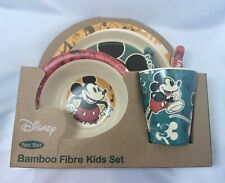 Disney Classic Retro Mickey Mouse Bamboo Fibre Kids Dinning Set Plate Bowl Cup