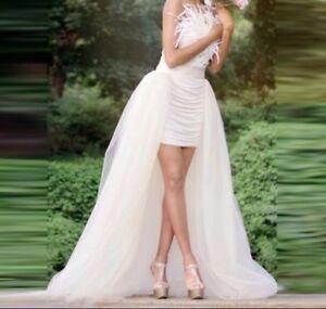 UK New white Ivory Tulle Skirt Detachable Train Wedding Skirt Size 6-20