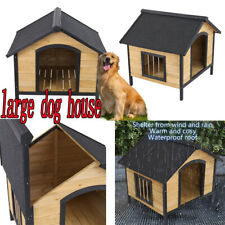 Dog House Pet Outdoor Bed Wood Shelter Home Weather Kennel Waterproof Nests Us