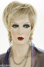 Light Brown Blonde Tipped with Pale Blonde Frost Blonde Short Straight Wigs